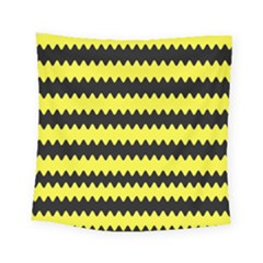 Yellow Black Chevron Wave Square Tapestry (small)