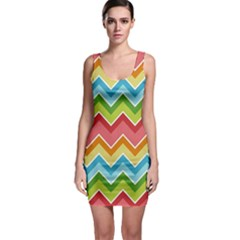 Colorful Background Of Chevrons Zigzag Pattern Sleeveless Bodycon Dress