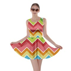 Colorful Background Of Chevrons Zigzag Pattern Skater Dress