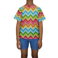 Colorful Background Of Chevrons Zigzag Pattern Kids  Short Sleeve Swimwear