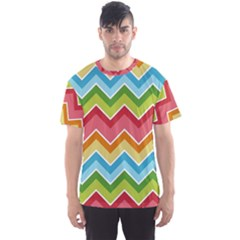Colorful Background Of Chevrons Zigzag Pattern Men s Sport Mesh Tee