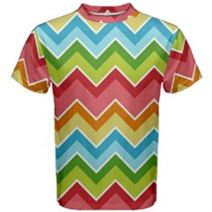Colorful Background Of Chevrons Zigzag Pattern Men s Cotton Tee