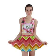 Colorful Background Of Chevrons Zigzag Pattern Mini Skirt