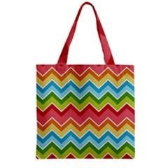 Colorful Background Of Chevrons Zigzag Pattern Grocery Tote Bag