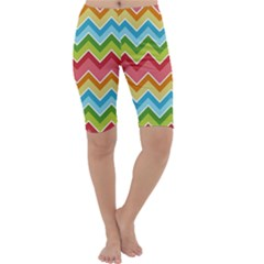 Colorful Background Of Chevrons Zigzag Pattern Cropped Leggings