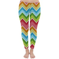 Colorful Background Of Chevrons Zigzag Pattern Classic Winter Leggings