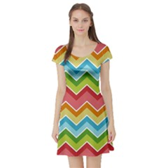 Colorful Background Of Chevrons Zigzag Pattern Short Sleeve Skater Dress