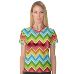 Colorful Background Of Chevrons Zigzag Pattern Women s V Neck Sport Mesh Tee