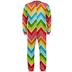Colorful Background Of Chevrons Zigzag Pattern Onepiece Jumpsuit (men)