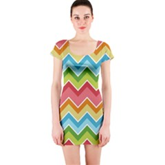 Colorful Background Of Chevrons Zigzag Pattern Short Sleeve Bodycon Dress