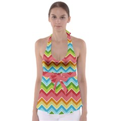 Colorful Background Of Chevrons Zigzag Pattern Babydoll Tankini Top