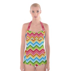 Colorful Background Of Chevrons Zigzag Pattern Boyleg Halter Swimsuit