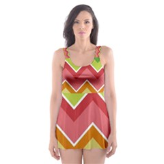 Colorful Background Of Chevrons Zigzag Pattern Skater Dress Swimsuit
