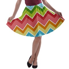 Colorful Background Of Chevrons Zigzag Pattern A Line Skater Skirt