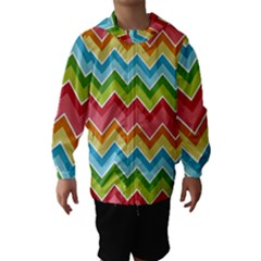 Colorful Background Of Chevrons Zigzag Pattern Hooded Wind Breaker (kids)