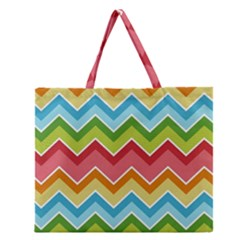 Colorful Background Of Chevrons Zigzag Pattern Zipper Large Tote Bag