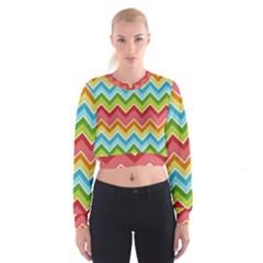 Colorful Background Of Chevrons Zigzag Pattern Women s Cropped Sweatshirt