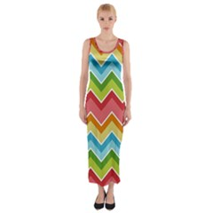 Colorful Background Of Chevrons Zigzag Pattern Fitted Maxi Dress