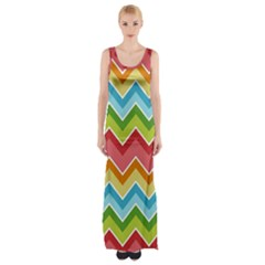 Colorful Background Of Chevrons Zigzag Pattern Maxi Thigh Split Dress