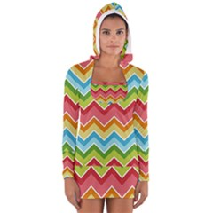 Colorful Background Of Chevrons Zigzag Pattern Women s Long Sleeve Hooded T Shirt