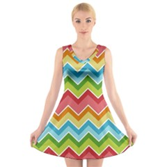 Colorful Background Of Chevrons Zigzag Pattern V Neck Sleeveless Skater Dress