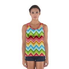 Colorful Background Of Chevrons Zigzag Pattern Women s Sport Tank Top