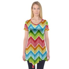 Colorful Background Of Chevrons Zigzag Pattern Short Sleeve Tunic