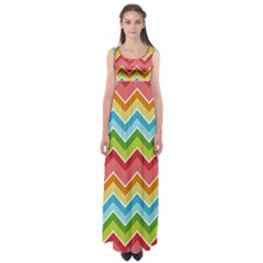 Colorful Background Of Chevrons Zigzag Pattern Empire Waist Maxi Dress