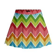 Colorful Background Of Chevrons Zigzag Pattern Mini Flare Skirt