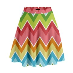 Colorful Background Of Chevrons Zigzag Pattern High Waist Skirt