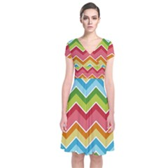 Colorful Background Of Chevrons Zigzag Pattern Short Sleeve Front Wrap Dress