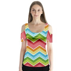 Colorful Background Of Chevrons Zigzag Pattern Butterfly Sleeve Cutout Tee
