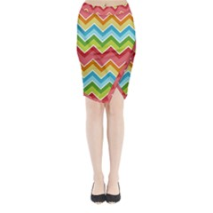 Colorful Background Of Chevrons Zigzag Pattern Midi Wrap Pencil Skirt