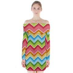 Colorful Background Of Chevrons Zigzag Pattern Long Sleeve Off Shoulder Dress