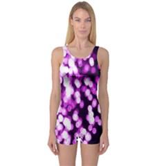 Bokeh Background In Purple Color One Piece Boyleg Swimsuit