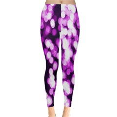 Bokeh Background In Purple Color Leggings