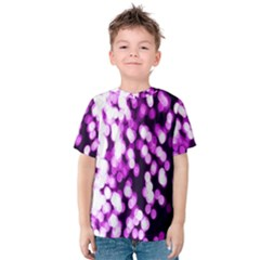 Bokeh Background In Purple Color Kids  Cotton Tee