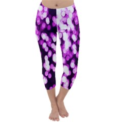 Bokeh Background In Purple Color Capri Winter Leggings