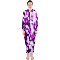 Bokeh Background In Purple Color Hooded Jumpsuit (ladies)