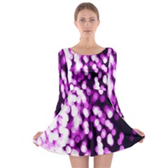Bokeh Background In Purple Color Long Sleeve Skater Dress