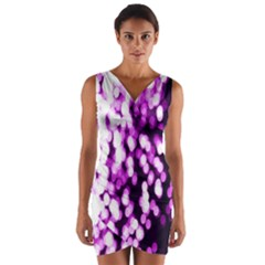 Bokeh Background In Purple Color Wrap Front Bodycon Dress