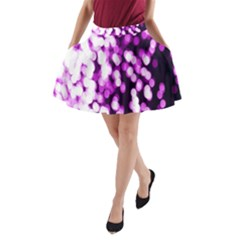 Bokeh Background In Purple Color A-Line Pocket Skirt