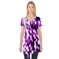 Bokeh Background In Purple Color Short Sleeve Tunic