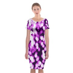 Bokeh Background In Purple Color Classic Short Sleeve Midi Dress