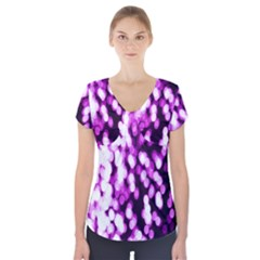 Bokeh Background In Purple Color Short Sleeve Front Detail Top
