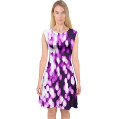 Bokeh Background In Purple Color Capsleeve Midi Dress