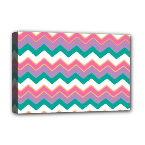 Chevron Pattern Colorful Art Deluxe Canvas 18  X 12
