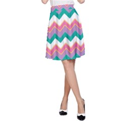 Chevron Pattern Colorful Art A Line Skirt