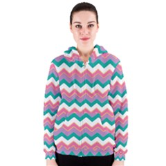 Chevron Pattern Colorful Art Women s Zipper Hoodie