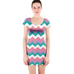 Chevron Pattern Colorful Art Short Sleeve Bodycon Dress